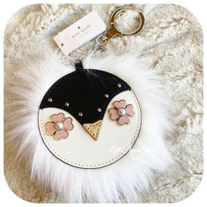 KATE SPADE PENGUIN FAUX FUR LEATHER CHARM KEY FOB